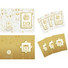 Cards - Eid Mubarak (6Pk) White Gold