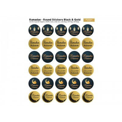 Stickers - Ramadan Mubarak 60 Pk Round Black & Gold