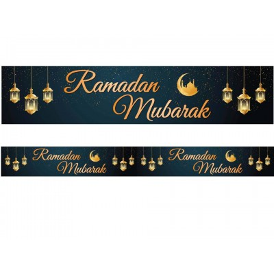 Dbl Banner Ramadan Black & Gold Lanterns