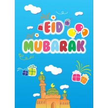 Mini Eid Mubarak Card - Blue