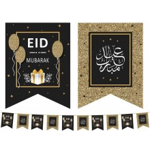 Flags – Eid Mubarak – Black - Copper - 10Pk