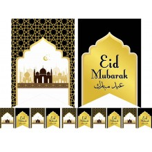 Designer Eid Flags - Black & Gold