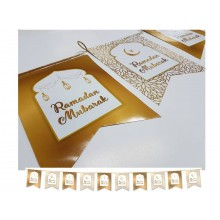 Flags – Ramadan Mubarak – White & Gold - 10 Pk