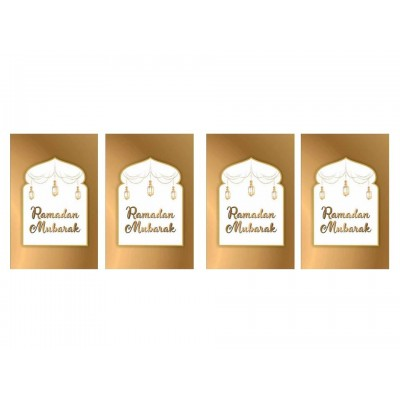 Cards - Ramadan Mubarak (Pack of 4) White & Gold