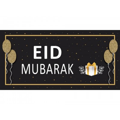 XL CLOTH BANNER  Eid Mubarak-Black & Gold