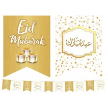 Flags–Eid Mubarak–Wh&Gold-Presents-10Pk